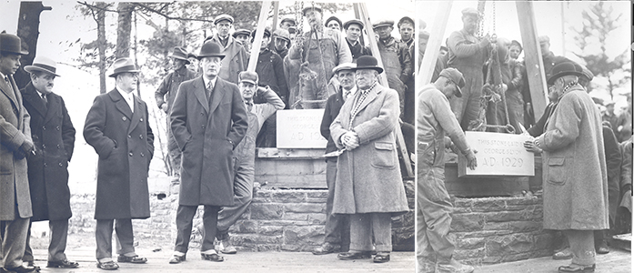George S. Lyon sets the cornerstone at St. George's