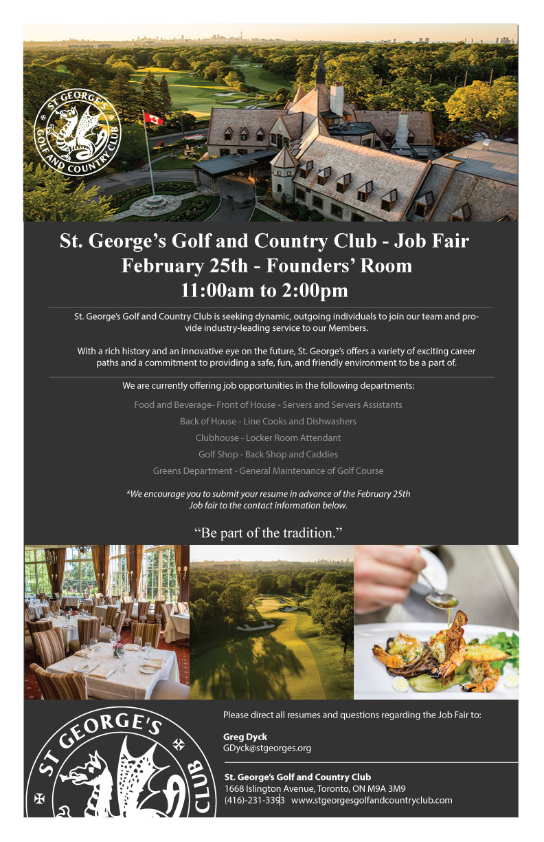 Join us on Saturday, February 25th from 11:00 am to 2:00 pm for our Job Fair, and explore several opportunities available to join Canada's leading private club.